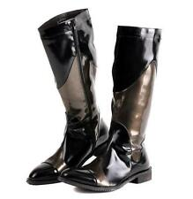 MENS patent leather punk zip up knee high boots cowboy fashion boots pointy toe