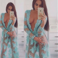 Women's V Neck See-through Long Sleeve Floral Evening Cocktail Long Maxi Dress