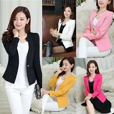 Women Slim Blazer Coat Autum Casual Jacket Long Sleeve One Button Suit Work Wear