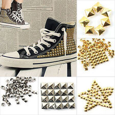 100pcs Lots Square Pyramid Rivet Metal Studs Spots Spikes Punk Leathercraft DIY