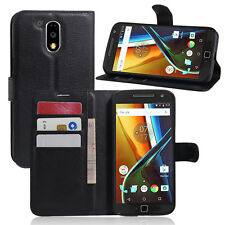 Wallet Card Holder Flip Stand Leather Case Cover For Motorola Moto G4 / G4 Plus