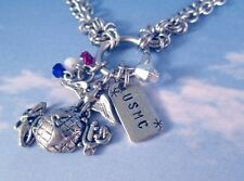 Marines Bracelet or Anklet Multi Chain Steel Charms Personalized Mom Wife USMC +