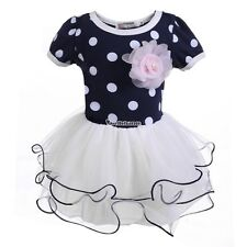 New Girls Kids Short Sleeve Dot Floral Multi-layers Tutu Ball Gown Dress W3LE