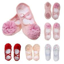 New Girls Ballet Dance Slippers Gym Yoga Shoes Child's Canvas Leather Full Sole