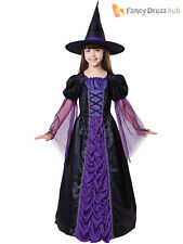 Girls Witch Costume Halloween Fancy Dress Age 4-12 Long Black Purple Witches