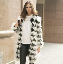 Womens luxury Faux Fur Winter Warm Long Coat Jacket Parka Trench strip Outerwear