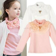 Baby Kids Girl Beauty Princess Party Long Sleeve T-shirt Lace Floral Blouse 3-8Y