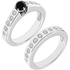 1 Carat Black Diamond Channel Solitaire Bridal Wedding Ring Band 14K White Gold