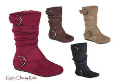 New Toddler Youth Kids Girls Faux Suede Winter Slouchy Boots Winter Buckle Fancy