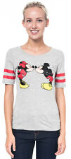 Mickey and Minnie Mouse Kissing Distressed Athletic Juniors T-Shirt