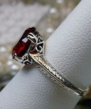 3ct *Red Ruby* Sterling Silver Art Deco 1930s Design Filigree Ring Size: Any/MTO