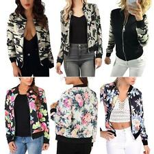 Womens Ladies Vinatge Zip Up Classic Flower Bomber Jacket Biker Coat Stylish New