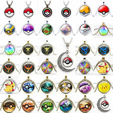 Pokemon Go Cabochon Glass Silver Character Photo Chain Pendant Necklace Hot sale