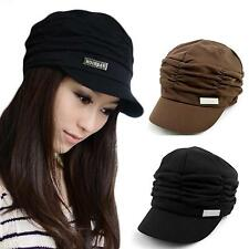 Fashion Women Lady Casual Pleated Layers Beret Visor Cap Peaked Brim Beanie Hat
