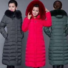 womens New Winter Long Fur Collar Jacket Cotton Outwear Parka Warm down Coat