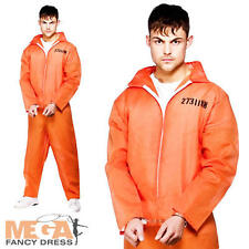 Convict Orange Boiler Suit Prisoner Fancy Dress Robbers Party Mens Adult Costume