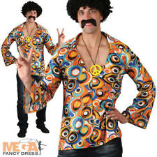 Groovy Hippie Shirt Mens Fancy Dress 60s 70s Hippy Adult Hippie Costume Shirt