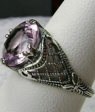 3ct Round*Pink Topaz* Sterling Silver Bow 1930s Filigree Ring Size: MTO/Custom