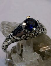 Victorian/Edwardian*Sapphire* Sterling Silver Filigree Ring Size {Made To Order}