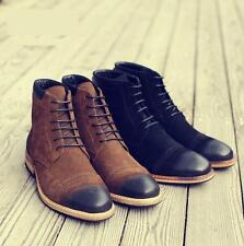 Fashion Mens suede leather dress formal shoes oxford carving ankle boots