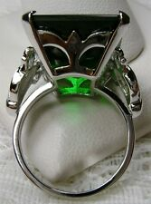 30ct *Green Emerald* Sterling Silver Vintage Design Filigree Ring Size: Any/MTO