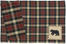 Park Designs Concord Black Bear Placemats & Napkins, Choice of Sets, 393-01B