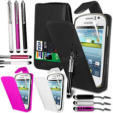 PU Leather Flip Case Cover Film & 3 Stylus Pen Set For Samsung Galaxy Fame