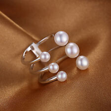 JewelryPalace Freshwater  5-6mm White Pearl Band Wrap Ring 925 Sterling Silver