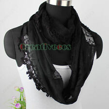 Cotton Gauze Stitching Floral Lace Long Scarf Shawl/Infinity Loop Cowl Scarf