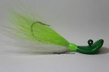 Candy Lime Wobble Bucktail Jigs Saltwater Surf Fluke Fishing 1-4 ounces