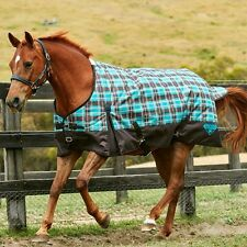 Weatherbeeta 1200D Waterproof Winter Horse Blanket Turnout Midwt Teal Grey Plaid