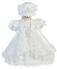 New Girls White Baptism Christening Dress Gown Embroidered Organza Cape Bonnet