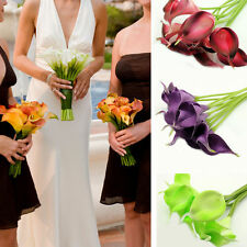 10 Heads Artificial Calla Lily Flowers Real Touch Bridal Bouquet Floral Wedding