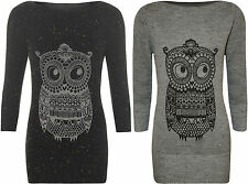 New Womens Owl Aztec Animal Print 3/4 Sleeve Top Ladies Long Knitted Jumper 8-14