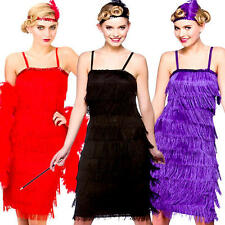 Jazzy Fringe Flapper Ladies 20s 30s Fancy Dress Charleston Gatsby Womens Costume