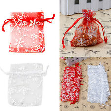 25pcs 7x9cm Gauze Organza Snowflake Jewelry Packing Pouch Wedding Favor Gift Bag