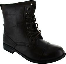 Chix 23-6463-05 Womens Brown Brush Lace Up Combat Style Ankle Military Boots New