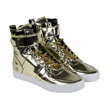 Radii Vertex Mens Gold Leather High Top Lace Up Sneakers Shoes