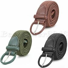 Mens Braided Woven Elastic Stretch w/Matching Leather Covered Buckle Waist Belt