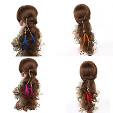 Boho Women Bohemian Hippie Party Indian Feather Beads Hair Extension Wigs Clip