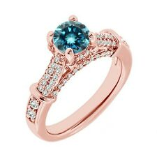 1.5 Carat Blue Diamond Solitaire Promise Engagement Wedding Ring 14K Rose Gold