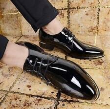 Mens Dress Formal oxford lace up patent leather pointy wedding shoes SZ US12.5