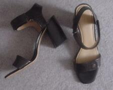 NEW Black-- Brown Leather NINE WEST $89 High Heel Sandals  Shoes 10-11