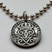 Sweden 1 ore coin pendant necklace Swedish scandinavian jewelry letter G n001210
