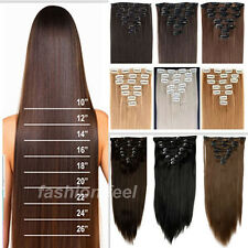 100% Natural Hair Extension Clip in Full Head Hair Extensions 18clips ins ht76