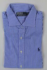 Ralph Lauren Blue Cream Striped Classic Dress Shirt Navy Pony NWT
