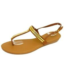 LADIES TAN TOE-POST FLAT SANDALS FLIP-FLOP SHOES HOLIDAY SUMMER PUMPS UK 3-8