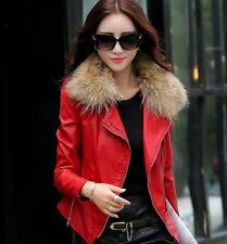 Womens slim fit zip Korean Hot Fashion Fur Collar faux Leather Jacket Coat