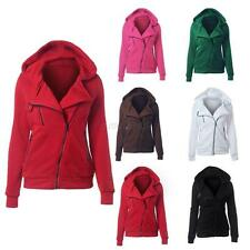 Women Casual Hooded Sweatshirt Coat Slim Zip Up Top Hoodie Jacket Sweater Jumper