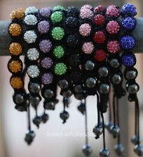 Bracelet 10mm Crystal Hematite Disco Ball Beads Adjustable Macrame  Li